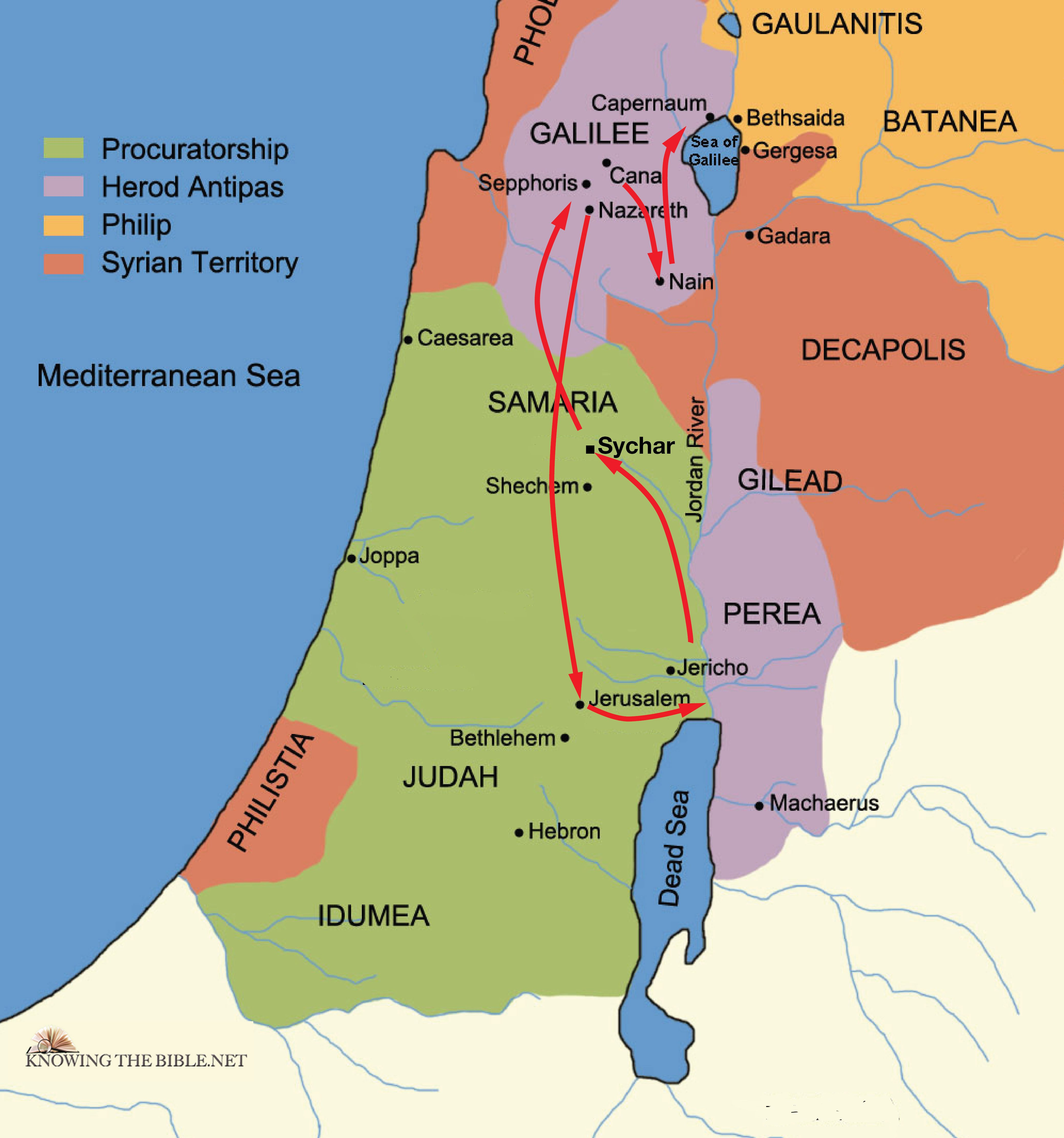 Jesus Travels to Jerusalem 27AD | iBible Maps on